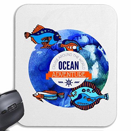 Mousepad (Mauspad) OCEAN ADVENTURE FISCHE AQUARIUM MITTELMEER OSTSEE NORDSEE ANGELRUTE HOCHSEEFISCHER FISCHE HOCHSEEFISCHER FISCHERBOOT ANGELHACKEN ANGELSCHNUR KESCHER für ihren Laptop, Not