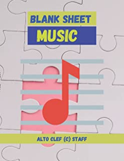 Blank Sheet Music Alto Clef (C) Staff, Jigsaw puzzle cover, 100 pages - Large(8.5 x 11 inches)