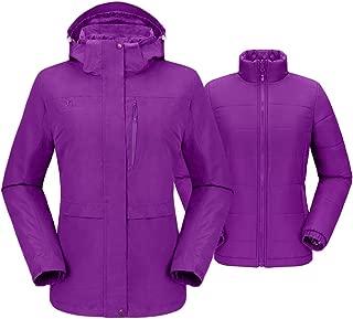 CAMEL CROWN Womens 3 in 1 Waterproof Ski Snow Winter Jacket Hooded Coat with Puffer Liner