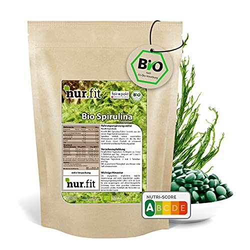 nur.fit by Nurafit BIO Spirulina Algen Presslinge 500g / 2000 Stück – rein natürliche Tabs aus Spirulina ohne Zusatzstoffe mit B-Vitaminen aus kontrolliert biologischem Anbau – Superfood Supplement