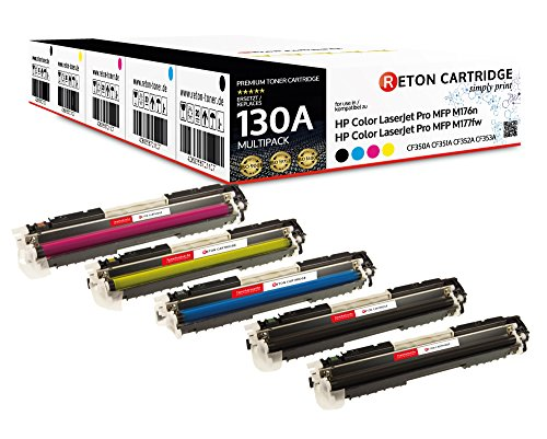 5 Original Reton Toner | 30% höhere Reichweite | kompatibel zu CF350A, CF351A, CF352A, CF353A HP 130A für HP Color Laserjet Pro MFP M176N, M177FW, M177, M176
