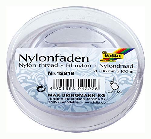 folia 12916 - Nylonfaden auf Spule, transparent, ca. 0,16 mm x 100 m, Tragkraft 0,85 kg, kaum sichtbarer Faden ideal für Mobiles, Schmuck, zur Dekoration usw.