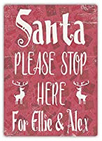 Santa Please Stop 金属板ブリキ看板警告サイン注意サイン表示パネル情報サイン金属安全サイン
