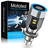 Lsyomne H4 LED motorcycle headlight bulb w/Angel Eye Daytime Running Light 9003 HS1 Hi/Lo Beam 25W 3500LM Extremely Bright 6000K CSP Chips Conversion Kit