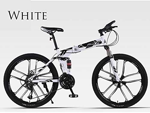 BLTR Conveniente Bicicleta de montaña Bicicleta Plegable 26 Pulgadas Velocidad Fuera de Carretera Doble Amortiguador Amortiguador Estudiante Adulto Hombres y Mujeres