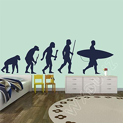 WERWN Surf Evolution Ape Man to Surfer Tabla de Surf Etiqueta de la Pared Vinilo Artista Decoración del hogar Jardín de Infantes Habitación para niños 31 x 100 cm