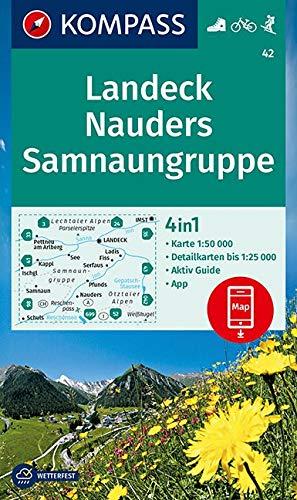 KOMPASS Wanderkarte Landeck, Nauders, Samnaungruppe: 4in1 Wanderkarte 1:50000 mit Aktiv Guide und Detailkarten inklusive Karte zur offline Verwendung ... Skitouren. (KOMPASS-Wanderkarten, Band 42)