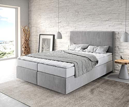 DELIFE Bett Dream-Well Mikrofaser Grau 140x200 cm mit Matratze und Topper
