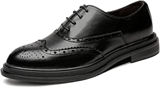 Casual shoes. Men's Business PU Leather Brogue Shoes Decoration Lace Up Breathable Outsole Lined Oxfords (Color : Black, Size : 48 EU)