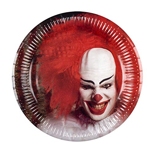 Boland BOL72351 Set da 6 Plates Horror Clown, 23 cm