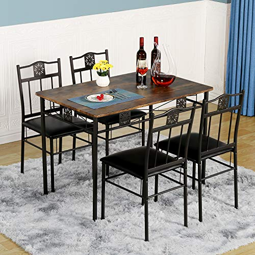 VECELO Dining Table and Chairs Set of 4 Kitchen Table with Metal Frame Legs Industrial Style for Living Room Dining Room,Rustic Brown and Black
