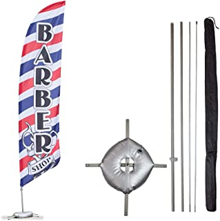 Vispronet - Barber Shop Feather Flag Kits - 13.5ft Flag Complete Pole Set, Cross Base Weight Bag – Great for Businesses, Storefronts, Sales - Printed in The USA