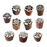 Royal Kraft Lehm Holzdruck Handgeschnitzt Klein Blumen Designs Blöcke Stempel (Set von 10)