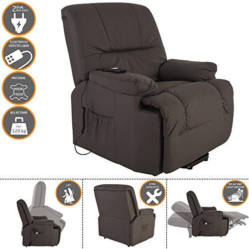 MACOShopde by MACO Möbel TV-Sessel FRANK mit elektrischer Aufstehhilfe, Schlafsessel mit Liege- und Relaxfunktion aus Mikrofaser in Grau/Braun mit 2 kraftvollen Motoren und Fernbedienung