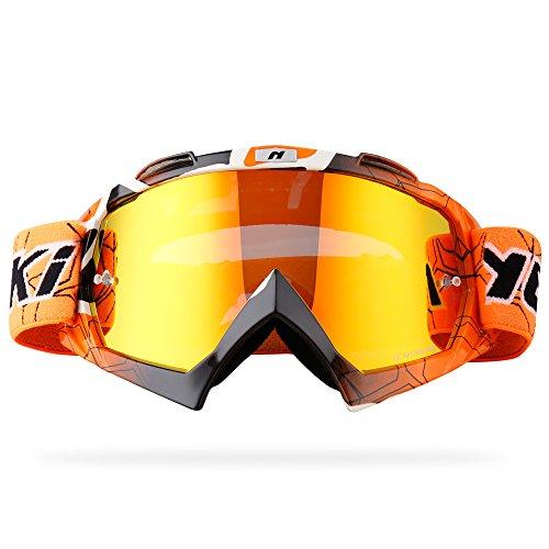 NENKI Motocross ATV Goggles NK-1019 MX ATV Off Road Dirt Bike Goggles For Unisex Adult (Techline Orange,Iridium Red Lens)