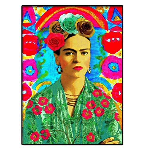 Poster Frida Kahlo Portrait Art Mural, Frida Kahlo in Wonderland Flowers Atmosphere Nouvelle Impression D'image, Meilleure Qualité Reproduction D'art Imprimé Cadeau Décor, Sans Cadre,50x75cm