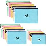 BEYAOBN Bolsas de Documentos A3+A4+A5, 15 Piezas Carpetas para Archivo Documentos de plástico con Malla, Bolsa de Archivo de Cremallera para Certificados Recibos Papelería Oficina Viaje Tarea Escolar