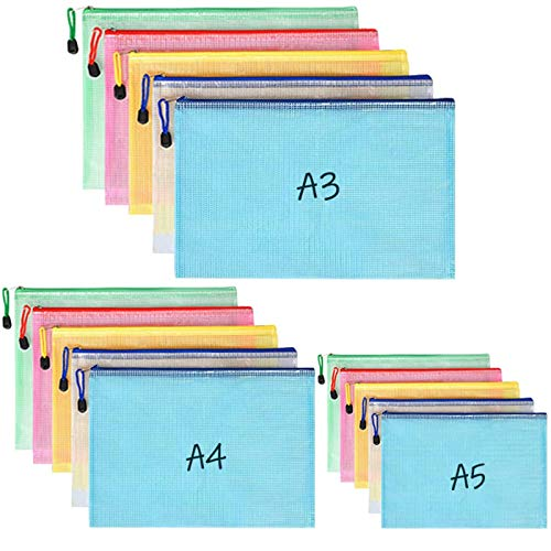 BEYAOBN 15Pcs Borse di File, A3 A4 A5 Sacchetto di Zip Impermeabile Mesh Sacchetto del Documento,Trasparente Mesh Buste Portadocumenti per Viaggio, Uffici, Scuola, Cosmetici- 5 Colori