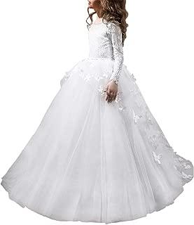 Flower Girls' Dress for Wedding Butterflies Long Sleeve Princess Dress