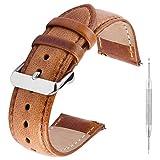 GerbGorb Vintage Lederarmband, Uhrenarmband für 18mm 20mm 22mm, Pflanzlich Gegerbtes Schnellwechsel Ersatzarmband, Braun 18mm