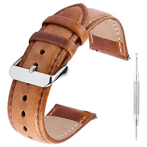 GerbGorb Vintage Lederarmband, Uhrenarmband für 18mm 20mm 22mm, Pflanzlich Gegerbtes Schnellwechsel Ersatzarmband, Braun 22mm