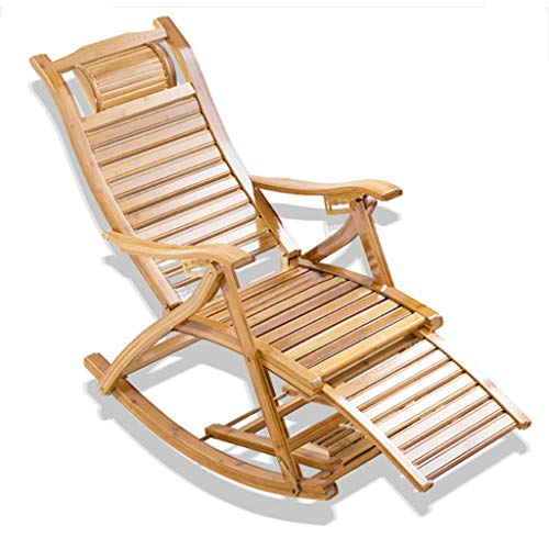 ANJJ Zero Gravity Chair - Chinese Oversized Portable Patio Folding Rocking Recliner with Armrests, Headrest Pillow and Foot Massager for Indoor, Lawn, Yard, Bamboo/Yellow