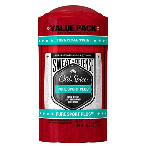 Old Spice Antiperspirant and Deodorant for Men, Hardest Working Sweat Defense, Pure Sport Plus Extra Strong Antiperspirant, 2.6 Oz (Pack of 2)