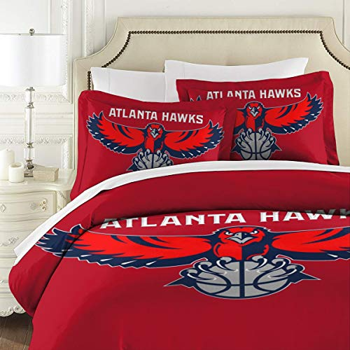 NOT Atlanta-Hawks 3-Piece Bedding Set, Soft Microfiber Quilt Cover and Pillowcase One Size