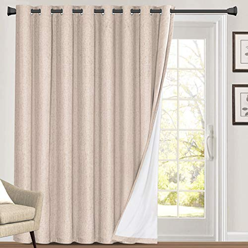 100% Blackout Linen Look Patio Door Curtain 84 Inches Long Extra Wide Thermal Insulated Grommet Curtain Drapes for Living Room / Sliding Glass Door, Primitive Winow Treatment Decoration, Natural