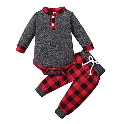 Borlai Conjunto de ropa de cuadros para bebés y niños pequeños, para recién nacidos, trajes cálidos, cuello alto, mameluco para 0-18 m, Cuadros rojos, 3-6 Meses
