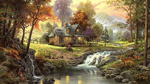 lxlwxh541 Diamant Painting Bilder Autumn House In The Woods Arts Craft Für Home 40X50Cm Round Geschenk