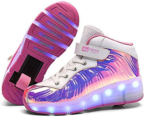 qmj Unisex Kids LED Rollschuhe Schuhe Mit Rädern Jungen Mädchen LED Lichter Leuchtende Turnschuhe Doppelrad Technische Skateboardschuhe Outdoor Gymnastik Turnschuhe Mit USB-Aufladung,Pink 912d-3 UK