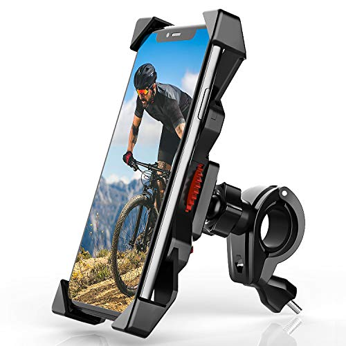 Bike Phone Mount Holder Anti Shake Universal Cell Phone Holder for Bicycle Mount 360° Rotation Bicycle & Motorcycle Handlebar for iPhone Samsung Any Smartphones Between 4.7 to 6.8 inches