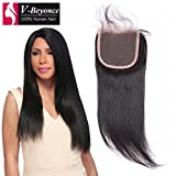V-Beyonce 4x4 Lace Closure With Baby Hair Brazilian Virgin Hair Human Hair Straight Closure 8' Free Part