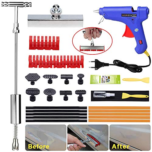 Randalfy Car Dent Puller Kit - Lackfreies Dent Repair Kit, Dent Puller Gleithammer T-Bar Dent Removal Tool mit T-Bar Head Dent Puller und verdickten Zuglaschen für Car Dent Remover