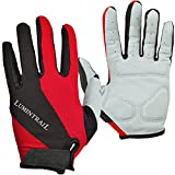 Lumintrail Shock-Absorbing Riding Full Finger Cycling Bike Gloves Breathable Sport for Men and Women (Red,...
