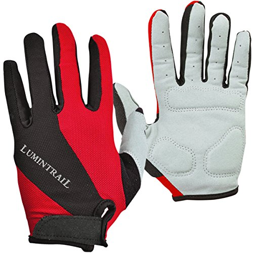 Lumintrail Shock-Absorbing Riding Full Finger Cycling Bike Gloves Breathable Sport for Men and Women (Red, Large)