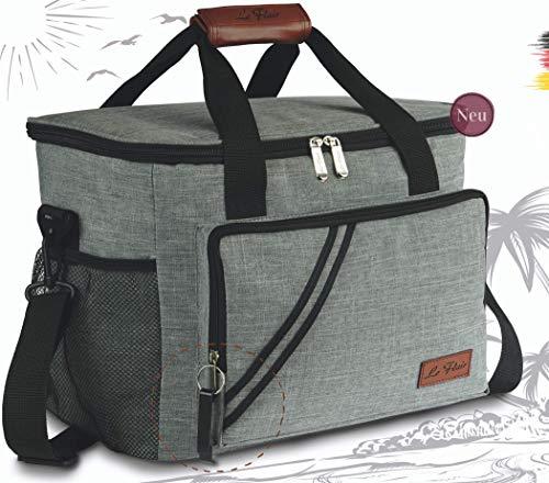 Le Flair® extra hochwertige 23L Kühltasche faltbar - Lunchbag mit Flaschenöffner - Thermotasche - Kühlkorb - Isoliertasche für Flaschen - Picknicktasche Cooler Bag grau