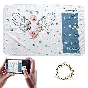 Hocaies Manta Bebe Manta Mensual Hito De Para Bebé Manta Bebe Personalizada Para Franela Adecuado para Regalos…