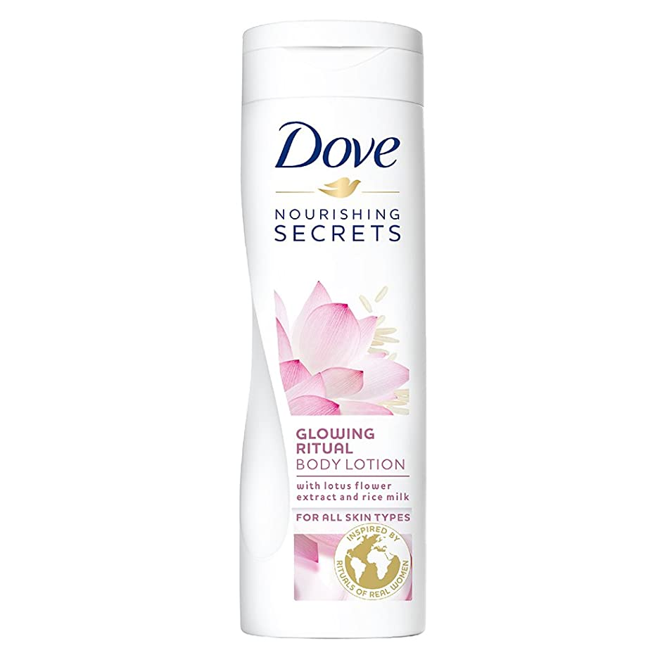 通貨取るに足らない失速Dove Glowing Ritual Body Lotion, 250ml (Lotus flower and rice milk)