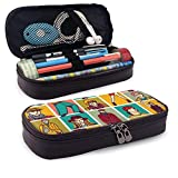 XCNGG Estuche para lápices neceser Set Fashion People Face and FiguresLeather Pencil case, Waterproof, Fashionable and Durable, can be Used for Students, Schools, Offices, Colleges