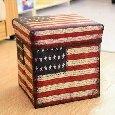 MIDUO British Retro Straw Multifunctional Coating Film Storage Box Can Sit Folding Stool Covered Storage Box Huanxie,Stripes Flag,30 * 30 * 30