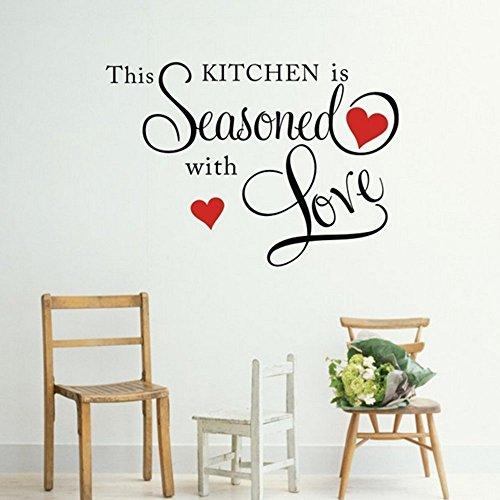 Hengsong - Adesivo da parete con citazione 'This Kitchen is Stagioned with Love', rimovibile, decorazione per la casa