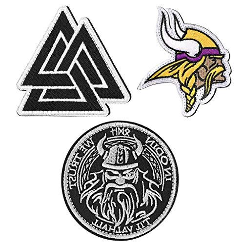 FaithHeart Valknut Viking Norse Moral Patches 3 Stück Viking Oding Klettverschluss