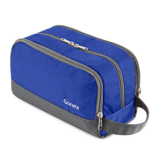 Gonex Travel Toiletry Bag Nylon, Dopp Kit Shaving Bag Toiletry Organizer Blue