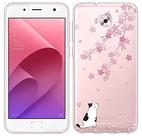 Sunrive Für Asus Zenfone Live Plus ZB553KL 5,5 Zoll Hülle Silikon, Transparent Handyhülle Schutzhülle Etui Hülle Backcover(TPU Katze 1)+Gratis Universal Eingabestift