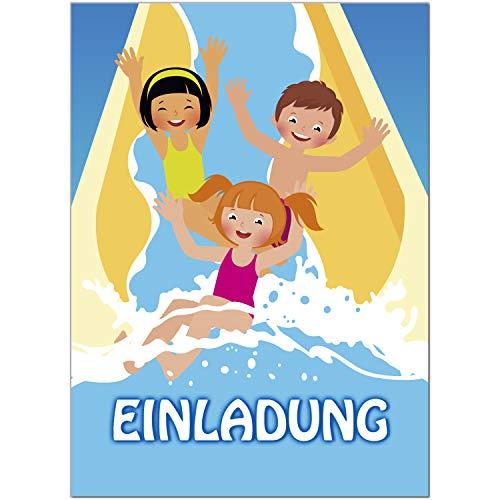 16 Einladungskarten zum Kindergeburtstag Motiv: Wasser-Rutsche Schwimmbad - Einladungen für Kinder zum Geburtstag im Set