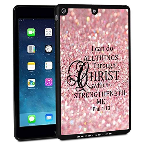 iPad 9.7 Inch 2017 Case,iPad Air Case,Rossy Shockproof Hard Shell Rubber Bumper Protective Case with Pink Sparkle Glitter Phil 4:13 Pattern and Kickstand for Apple iPad 9.7 Inch 5th Generation