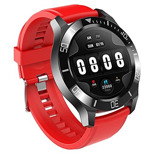 FMSBSC Reloj Inteligente para teléfonos Android iOS, Llamadas Bluetooth, Control de música, Smartwatch con Monitor de Sueño, Presión Arterial, Pulsómetros, Pulsera Actividad Inteligente,Rojo