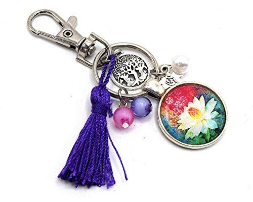 Passionnella - Chakras Lotus Blume Schlüsselanhänger, Handtasche Dekoration, Quaste Cabochon Schmuck, Feng Shui Schmuck.